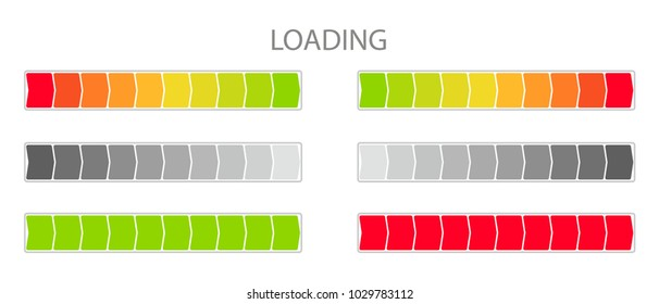 A set of icons of the progress bar. Loading progress indicator, download process, load icon, download time, loading bar. Vector illustration in a flat style isolated on background.