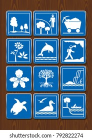 Set icons of protected area, mining, flower, dolphin, geology, orchid, mangrove, waterfall, turtle, seabirds, navigable river. Icons in blue color on wooden background. Vector image