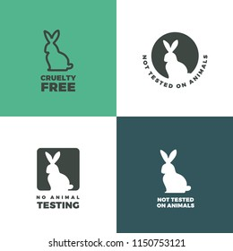 Set of icons with a rabbit as a symbol of animal cruelty free. Bunny icons with titles Cruelty free, Not tested on animals, No animal testing.