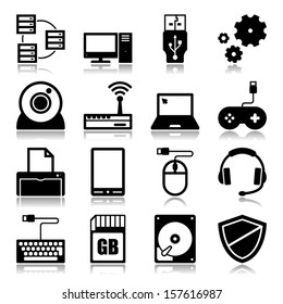 Set of icons with reflection about computer and technology concept