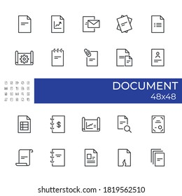Set of icons related to the Document topics. Includes icons for report, plan, draft, pinning, diploma, sending and etc. . Size 48×48 pixel. Editable vector illustration of the icon.