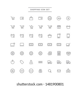 set of icons related to shopping.