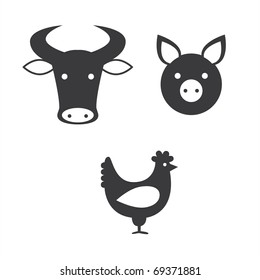 a set of icons representing different kinds of meat