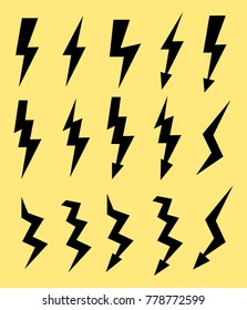 Set of icons representing lightning bolt, lightning strike or thunderstorm. Suitable for voltage, electricity and power signs. vector illustration EPS