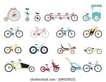 Set of icons representing various types of bikes. Set of icons representing various types of bikes, modern, traditional, sport, extreme.