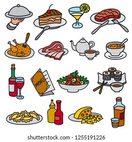 set of icons for restaurant and cafe food and dishes