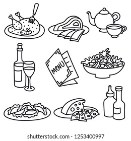 set of icons of restaurant and cafe foods and drinks