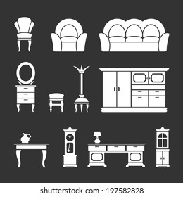 Set icons of retro furniture and home accessories isolated on black. Vector illustration