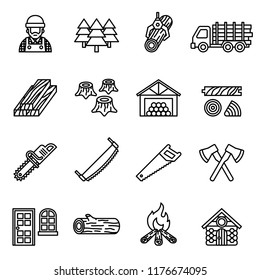 Set icons of sawmill, timber, lumber and woodworking isolated on white. Line Style stock vector.