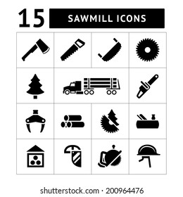 Set icons of sawmill, timber, lumber and woodworking isolated on white. Vector illustration