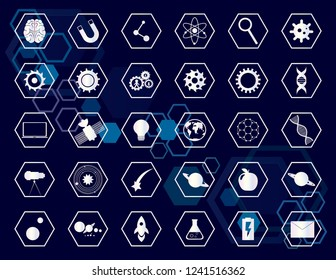 Set of icons. Science icons, tech icon vector collection