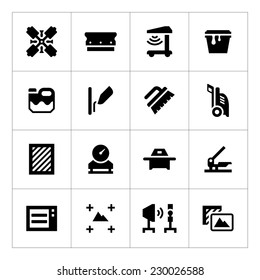 Set icons of screen printing isolated on white. Vector illustration