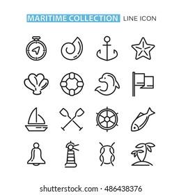 set of icons sea.