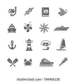 set of icons sea