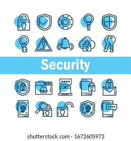 set of icons security, line style icon vector illustration design
