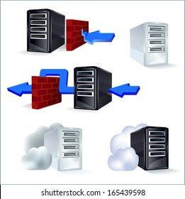 Set of icons server, proxy, cloud server in silver and black color..
