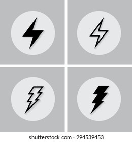 Set of icons with shadow vector illustration eps10 : Bolt icons.