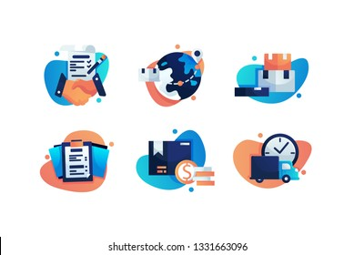 Set icons with shipping, service, box, earth, business plan. Concept collection modern symbols for delivery, internet, ad, web Pixel perfect Vector illustration