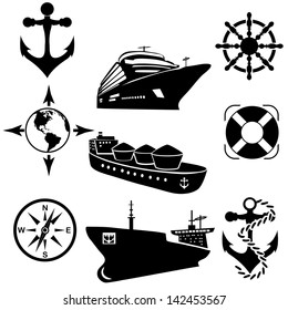 Set of icons of the ships. A vector illustration