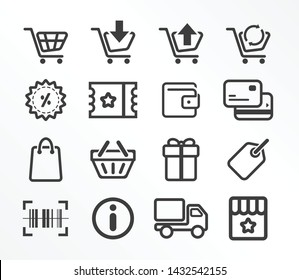 Set icons, shopping, buying, sales, promotions, product information, product delivery, special privileges.