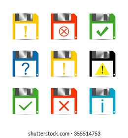 Set of icons and signs, symbols help, information, check, delete, attention vector illustration