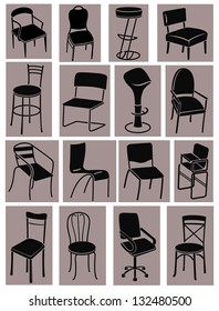 Set of icons of silhouettes of chairs