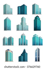 Set icons skyscrapers buildings isolated, tower and office, city architecture, house business apartment