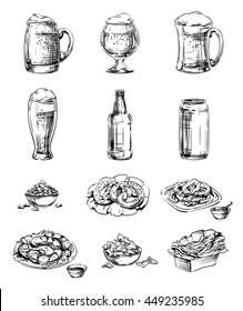 Set of Icons snacks and beer in a glass, mug, bottle, cup, jar and pot. Hand drawing graphic strokes and lines images for Oktoberfest or menu the restaurant, pub, bistro, snack bar, isolated vector