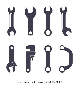 Set of icons of spanners on white background