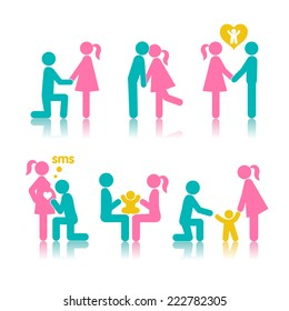 Set of icons stages of creating a family: a meeting of lovers, planning pregnancy, birth and child-rearing.