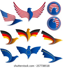 Set of icons from the stylized birds; Wing of an eagle; Wing of a pigeon; Flag of United States, Germany, European Union; Vector Eps8