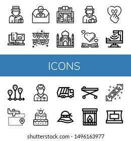 Set of icons icons such as Bellboy, Machinery, Contact us, Garlands, Bookstore, Taj mahal, Fisherman, Heart, Infrared, Timeline, Airport, Flight attendant, Wedding, Garbage truck , icons