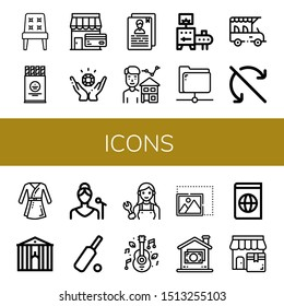 Set of icons icons such as Chair, Wafer, Shop, Jewelry, Resume, Estate agent, Conveyor, Share, Safari, Do not roll, Bathrobe, Town hall, Singer, Cricket, Mechanic, Music , icons