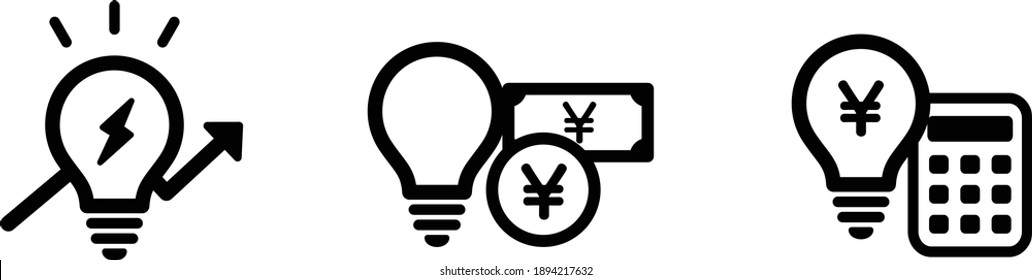 Set of icons such as electricity bill, electricity bill increase, light bulb etc.