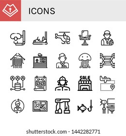 Set of icons icons such as Mantle, Dive, Bumper car, Helicopter, Chair, Lifeguard, Knitting, Stand, Jellyfish, Server, Poster, Firewoman, Shop, Airport, Contact us, Scrapbook , icons