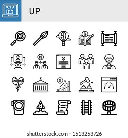 Set of up icons such as Social network, Research, Arrows, Hot air balloon, Economy, Scroll, Growth, Disagreement, Login, Social media, Researcher, Balloon, Crane, Bar chart , up