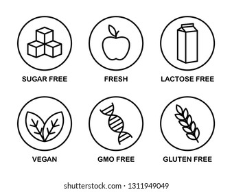 Set of icons: Sugar Free, Gluten Free, Vegan, Lactose Free, GMO Free, Fresh. Black and white.