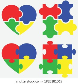 A set of icons symbolizing support for children with autism.