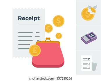 A set of icons symbolizing tax, cash money and a receipt with a feature image symbolizing purchases and expenses vector illustration