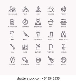 Set of icons and symbols for camping and hiking. Vector illustration.
