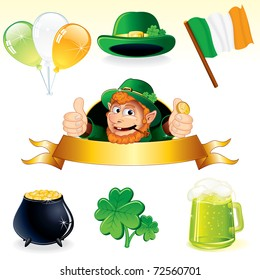 Set of icons and symbols for Patrick's Day decoration - detailed vector illustrations leprechaun banner, clover, cauldron, irish flag, balloons, green hat and pint of ale