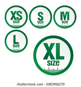 set icons symbols size clothing, literal measurement standard clothing size from big to small xs xl sticker, vector template label.