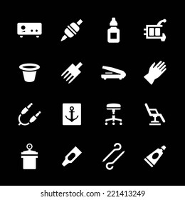 Set icons of tattoo equipment and accessories isolated on black. Vector illustration