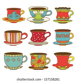 Set icons tea / coffee cups - vector