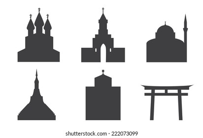 Set of icons of temples. Churches, pagoda, sin to, Jewish synagogal, mosque.