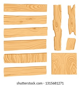 Set of icons of textured wooden boards, bars, and parts of a tree. Vector modern illustration