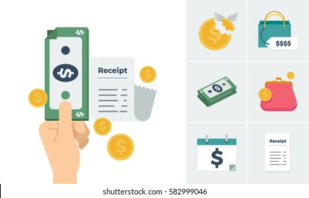 A set of icons with the theme of paying for things and purchasing expensive items vector illustration