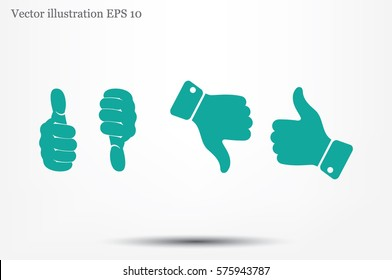 set of icons: thumb up, thumb down  vector illustration eps10. Isolated badges for website or app - stock infographics.