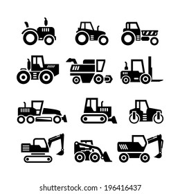 Set icons of tractors, farm and buildings machines, construction vehicles isolated on white. Vector illustration