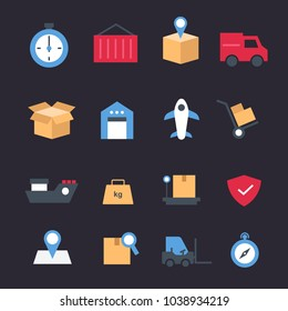 Set of icons transport logistics and shipping concept. Transportation, Warehouse, shipping, protection, package, deadline vector.